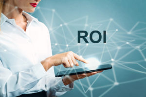 ROI text with business woman