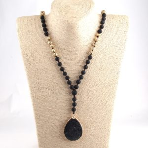 We Are the Champions – Black Lava Pendant Necklace – Essential Oil Diffuser