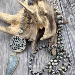Inspired Wealth – Labradorite and Dalmatian Jasper Pendant with Clear Quartz, Labradorite and Dalmatian Jasper Beaded Necklace